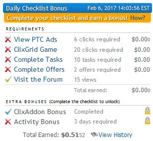 ClixSense Daily Checklist Bonus
