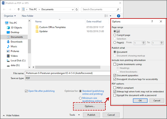 Cara 1 Menyimpan File Dalam Format PDF atau XPS 2