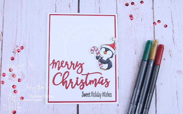 Heather's Hobbie Haven - Sweet Holiday Penguins - Merry Christmas Card