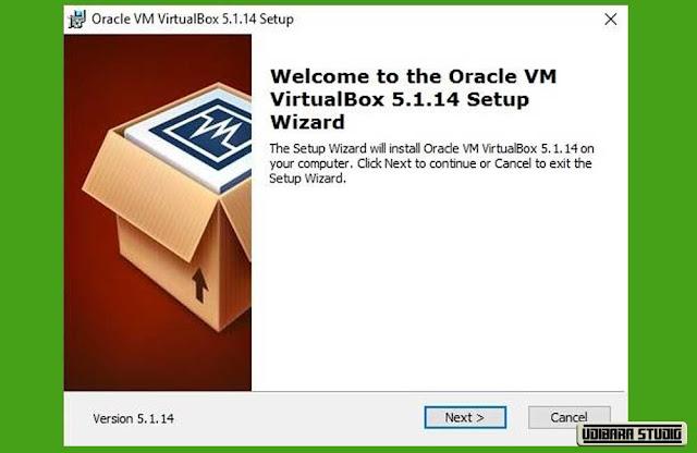 INSTALASI VIRTUAL BOX: Layar Selamat Datang Installer Virtual Box.