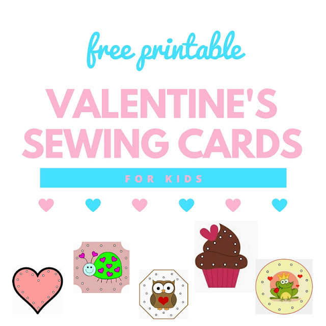 Valentine's Sewing Cards for Kids - free printable