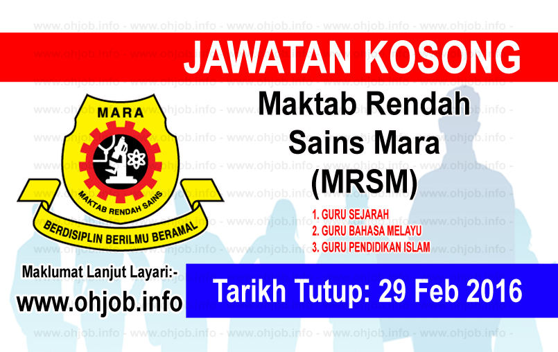 Jawatan Kerja Kosong Maktab Rendah Sains Mara (MRSM) logo www.ohjob.info februari 2016