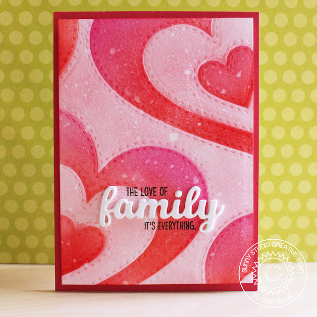 Sunny Studio Stamps: Stitched Hearts Red & Pink Love themed card by Eloise Blue