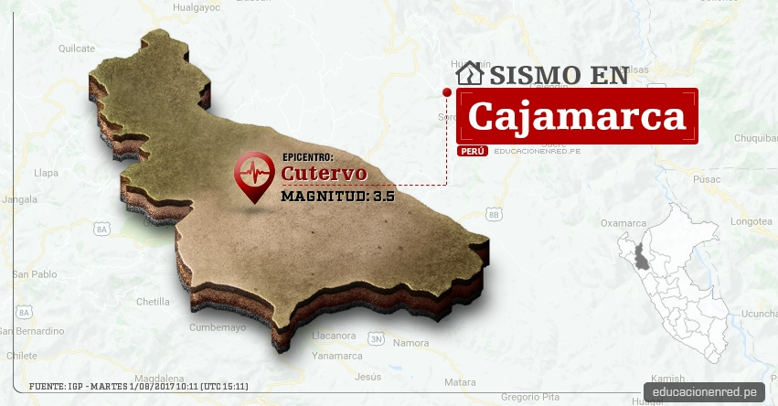 Temblor en Cajamarca de 3.5 Grados (Hoy Martes 1 Agosto 2017) Sismo EPICENTRO Cutervo - Jaén - San Ignacio - Chota - Celendín - Cajabamba - IGP - www.igp.gob.pe
