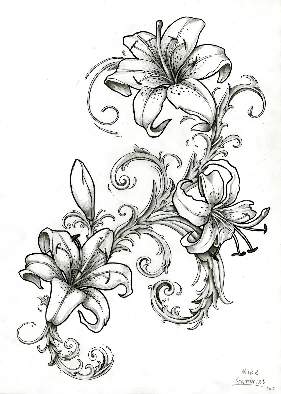 Mike's TATTOO design: Tiger Lillies