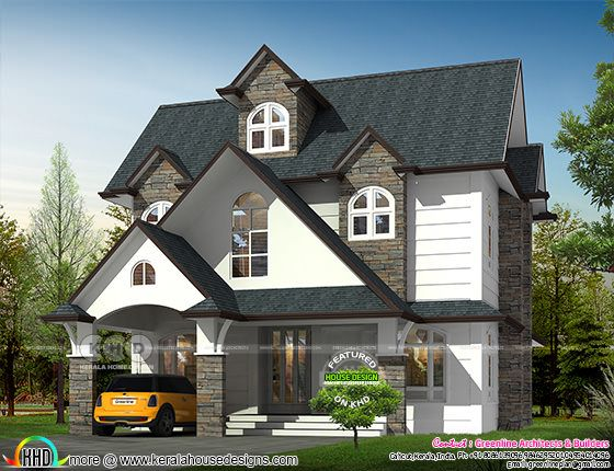Victorian style western house rendering with dormer windows