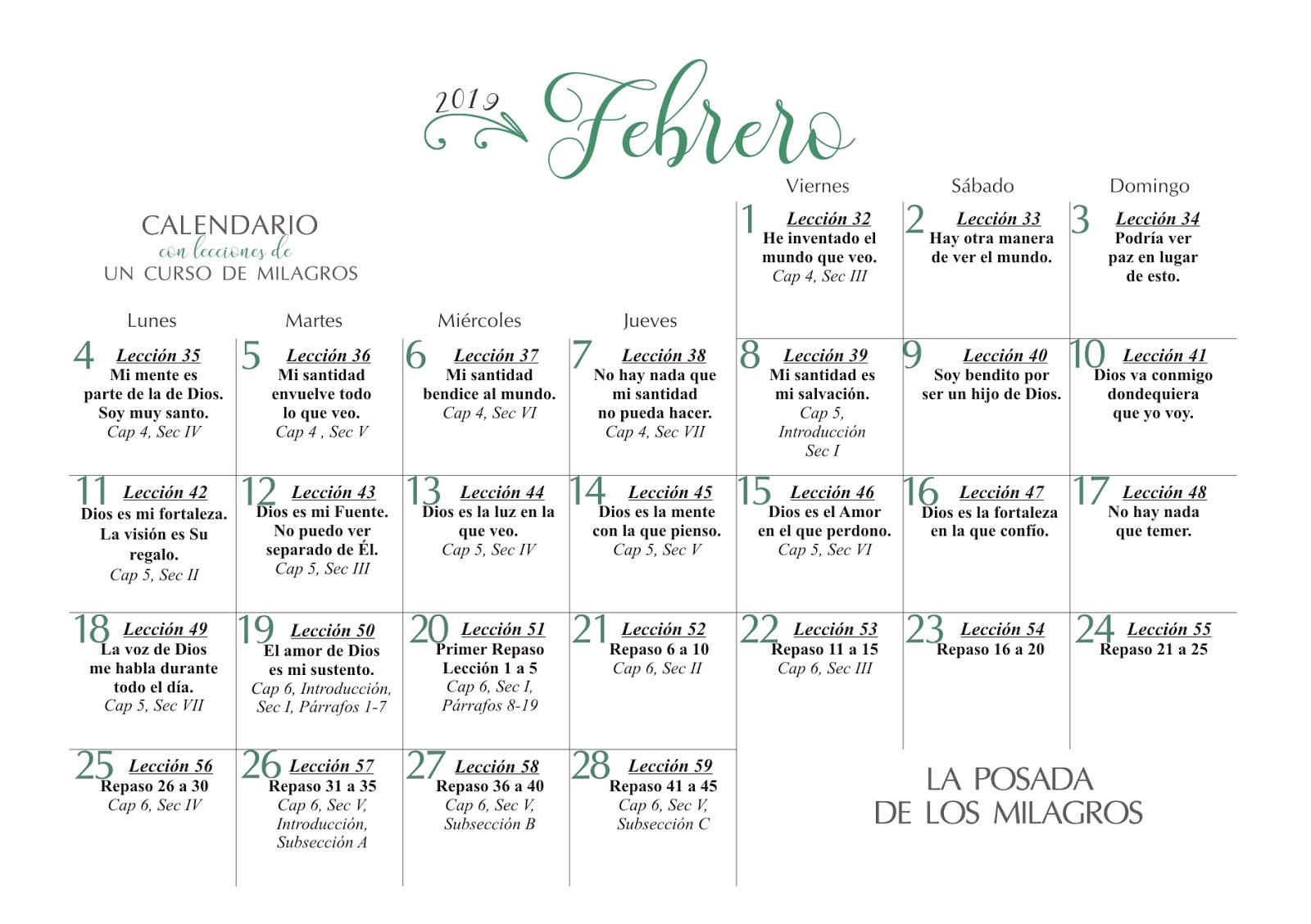 Febrero 2019 Calendario.Un Curso De Milagros 2019