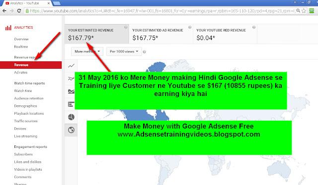 31 may 2016 ko google adsense publisher ne youtube se 10855 rupees ka earning kiya-see screenshot