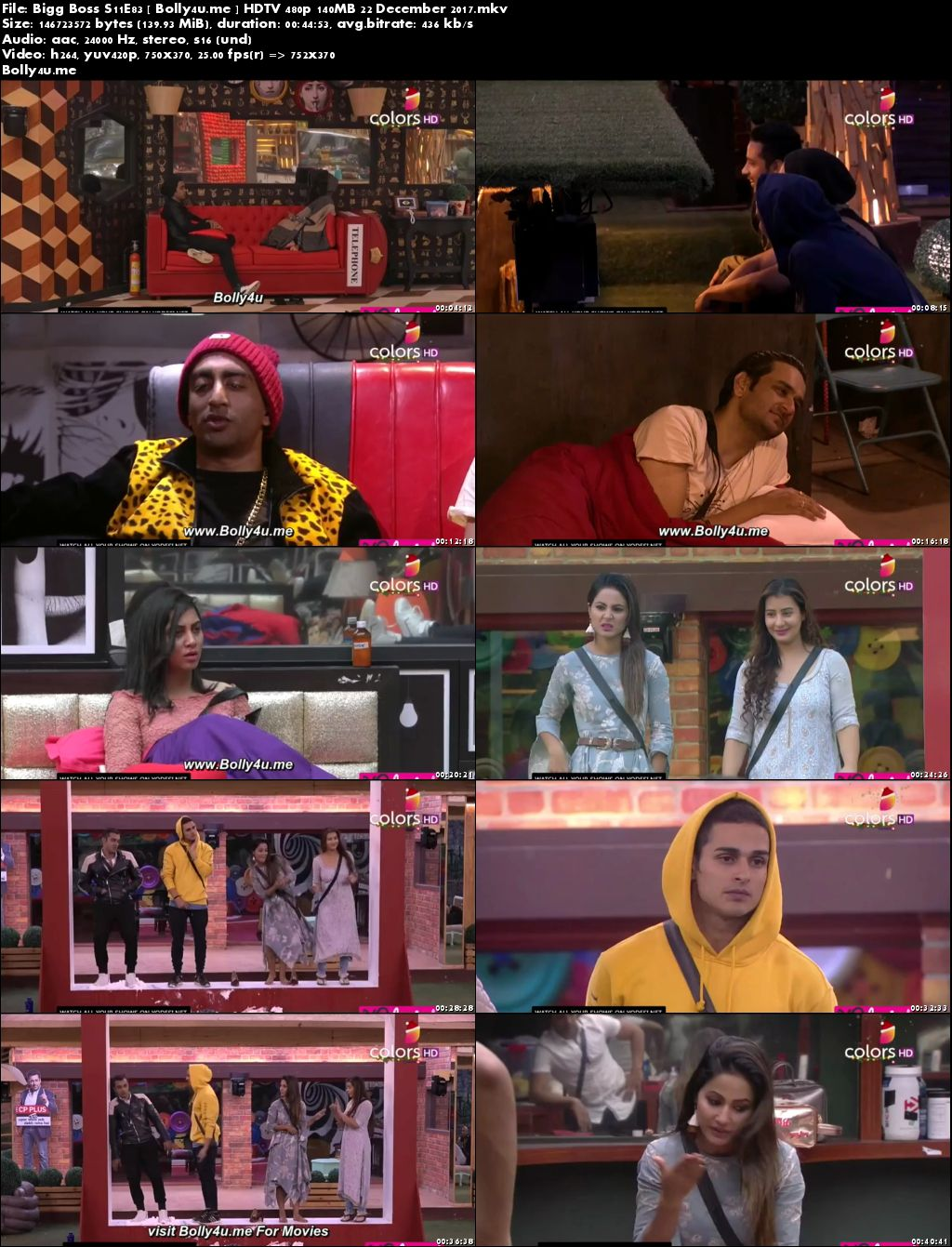 Bigg Boss S11E83 HDTV 480p 140MB 22 Dec 2017 Download