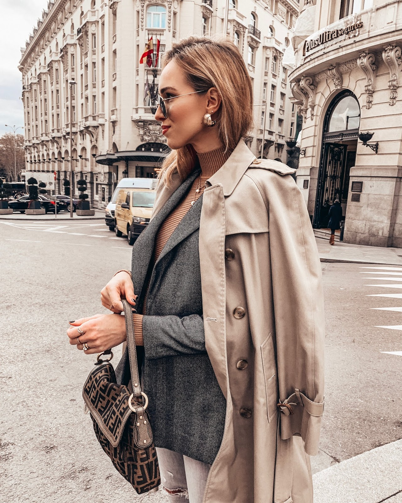 burberry trench coat over blazer outfit