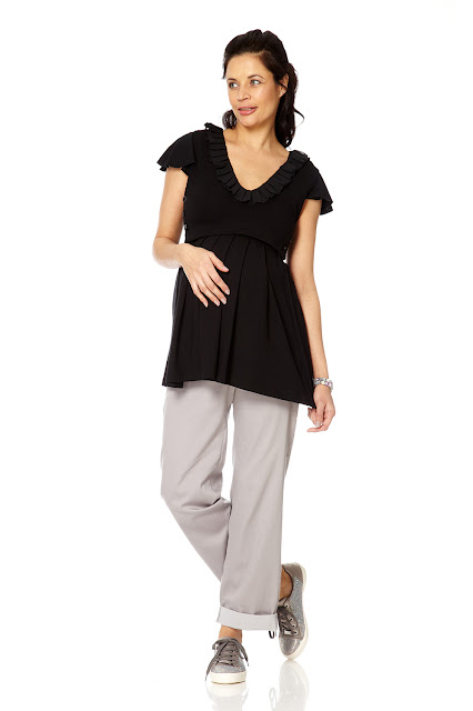 Bibee Maternity Nursing Cap Sleeve Tunic and Ruffled Front.