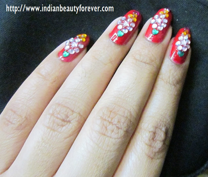 Indian Bridal Nail Art At Home With Rhinestones