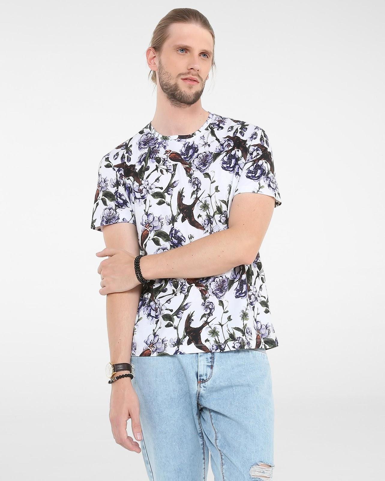LEO KLEIN - KADU DANTAS PARA RIACHUELO - Camiseta Floral Andorinhas