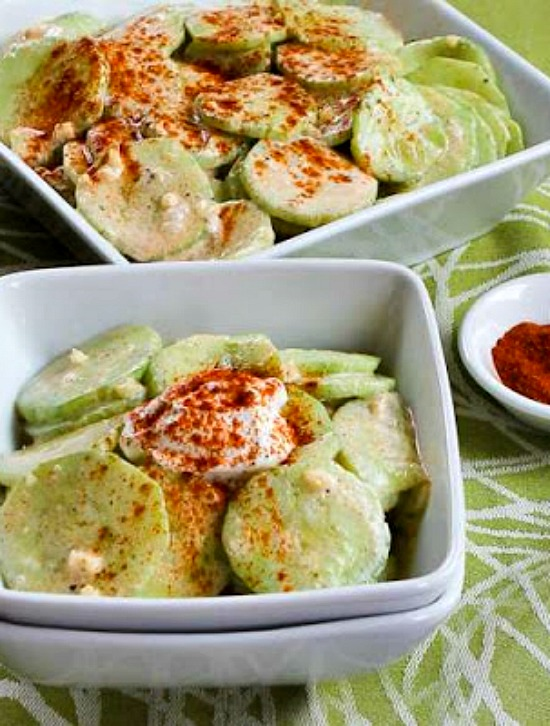 Al's Famous Hungarian Cucumber Salad from Kalyn's Kitchen featured fo...