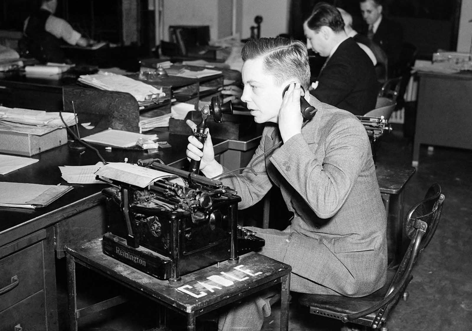 Associated Press correspondent Alvin Steinkopf broadcasting from the Free City of Danzig -- at the time, a semi-autonomous city-state tied to Poland. Steinkopf was relating the tense situation in Danzig back to America, on July 11, 1939. Germany had been demanding the incorporation of Danzing into the Third Reich for months, and appeared to be preparing military action.