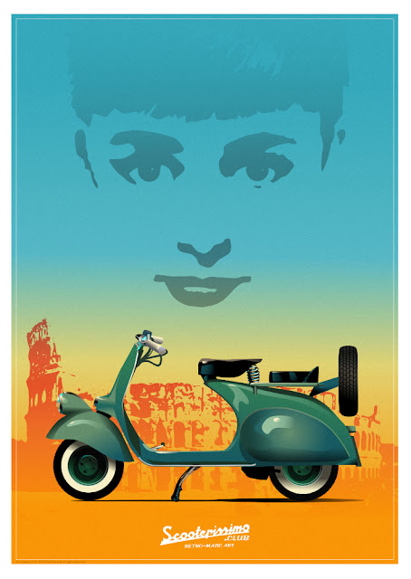 Icons.  Original Poster Print of Original Vespa from Roman Holiday with Audrey Hepburn