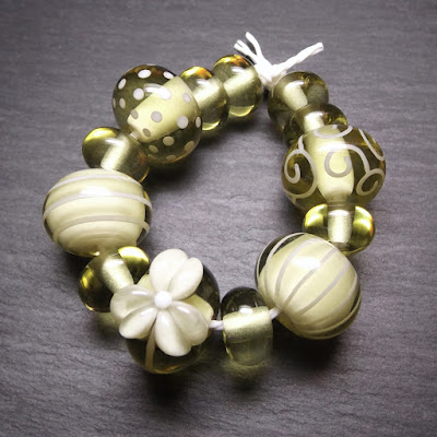 Lampwork glass beads made in Creation is Messy 'Musk'