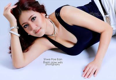 actress shwe poe eain with black fashion