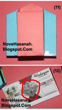 cara membuat atau langkah-langkah pembuatan kotak pensil dari bekas kemasan teh celup dan potongan-potongan ornamen kartu undangan 8