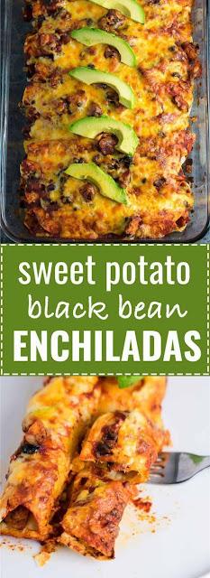 SWEET POTATO BLACK BEAN ENCHILADAS