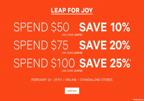 Joe Fresh Leap of Joy Up To 25% Off Promo Code
