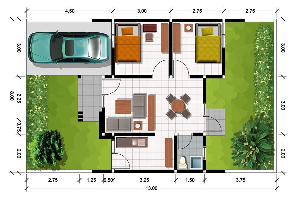 update desain denah rumah minimalis ukuran 6 x 8 meter