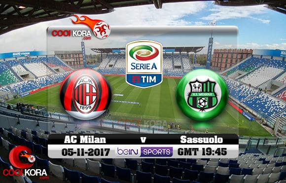 مشاهدة مباراة ساسولو وميلان اليوم 5-11-2017 في الدوري الإيطالي