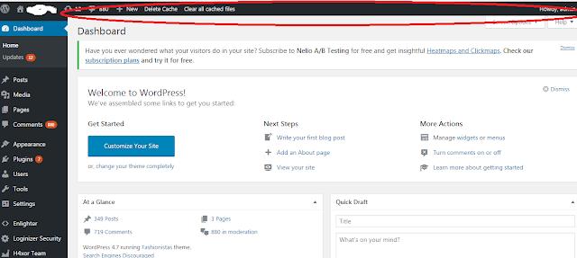 Cara Menampilkan Admin Bar di Web CMS WordPress Yang Tidak Muncul Setelah Login Dashboard