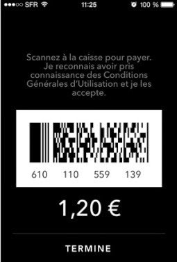 圖片說明: 法國 Starbucks 行動支付後提出 Barecode 供收銀員掃描,圖片來源: JDN