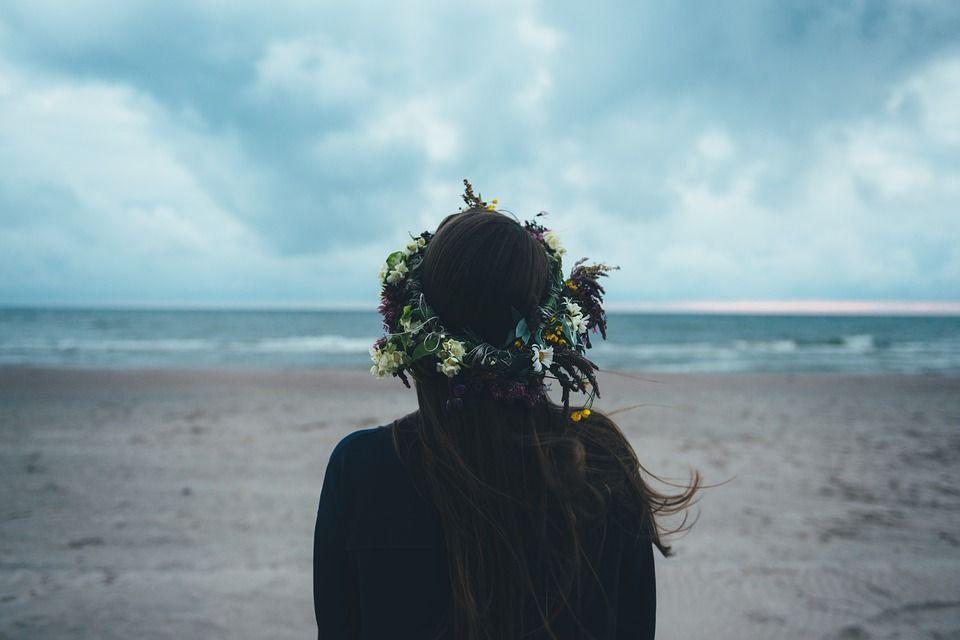 beach, happy, girl