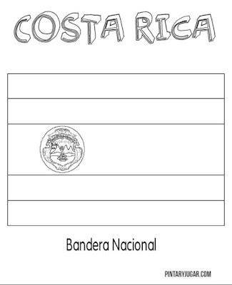 bandera Nacional de Costa Rica para coloroea
