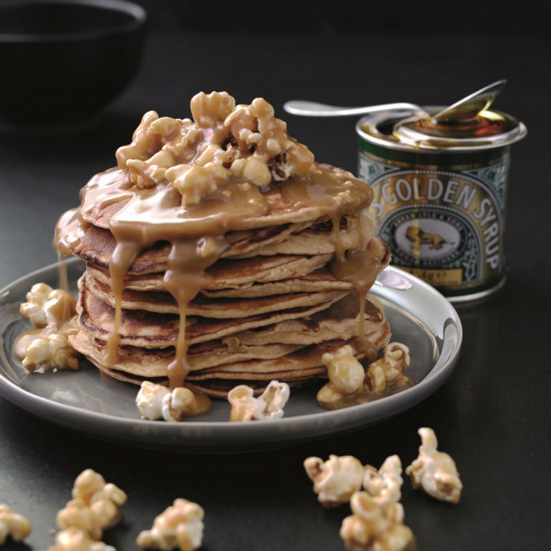 Peanut Butter Pancakes With Salted Caramel Popcorn Sauce