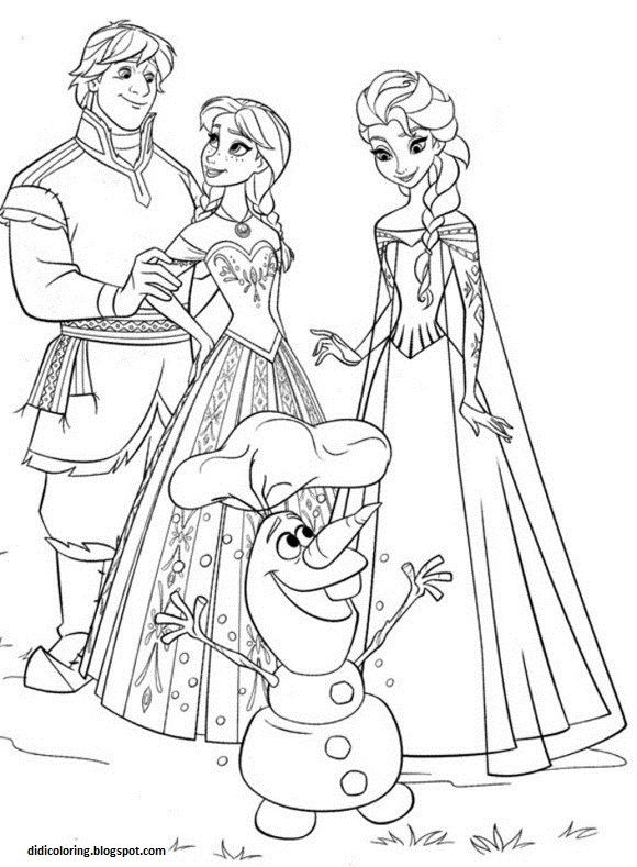 - Didi Coloring Page: Free Printable Walt Disney Characters Frozen Family Elsa,Anna,Kristoff  And Olaf Coloring Activity