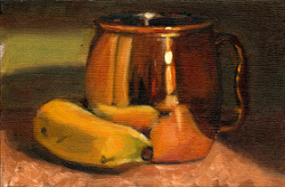 Oil painting of a banana beside a reflective copper mug.