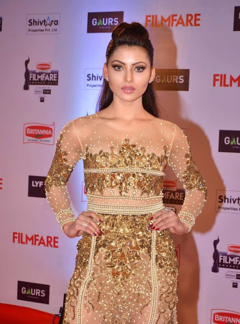 Urvashi Rautela in Golden See-through Dress