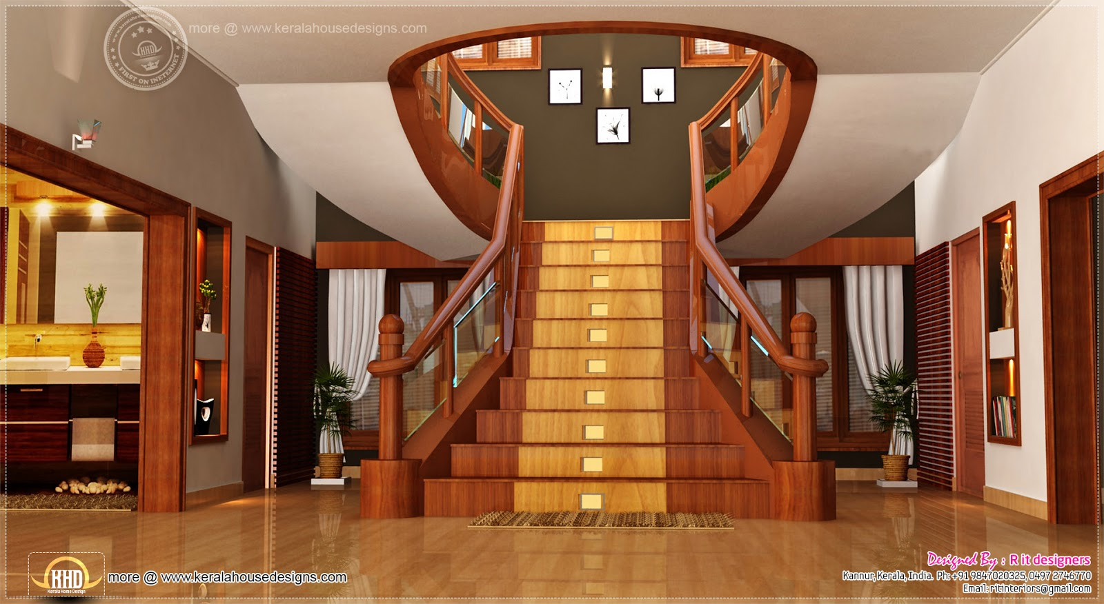 Home Interior Designs By Rit Designers Home Kerala Plans | Interior Staircase Designs For Indian Homes