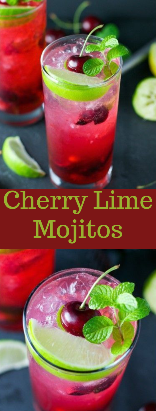 CHERRY LIME MOJITO #drink #cocktail