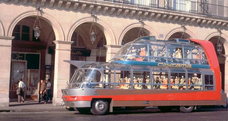 Strange Double Decker Bus In Paris 1950s Vintage Everyday