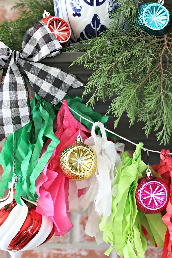 Christmas mantel, vintage style ornaments, tissue tassel garland for Christmas