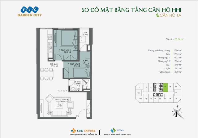 Thiết kế căn hộ 1A, dt 63m, tòa HH1 FLC Garden City
