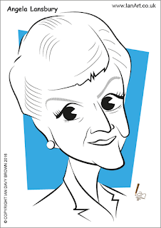 Angela Lansbury caricature by Ian Davy Brown