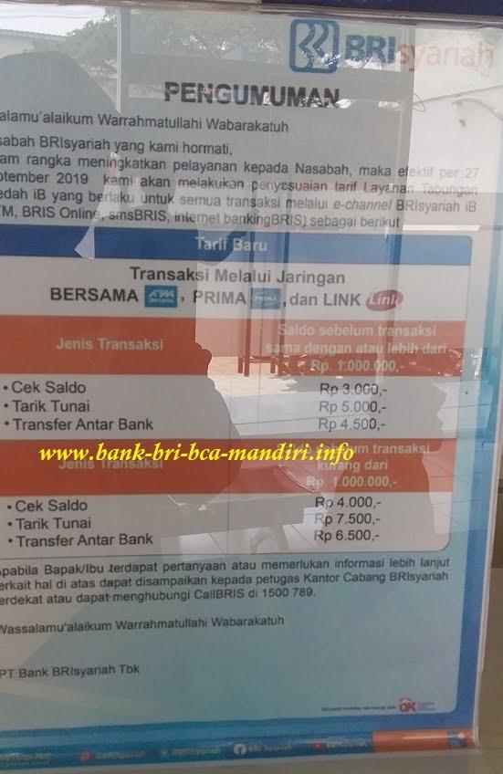 Update Biaya Transaksi Tarik Tunai Transfer Bank Bri Syariah Informasi Perbankan