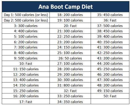 Diet plans pro ana