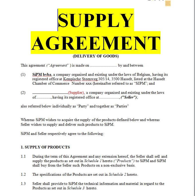 Delivery Agreement Sample Templates Doc Word Sample Contracts