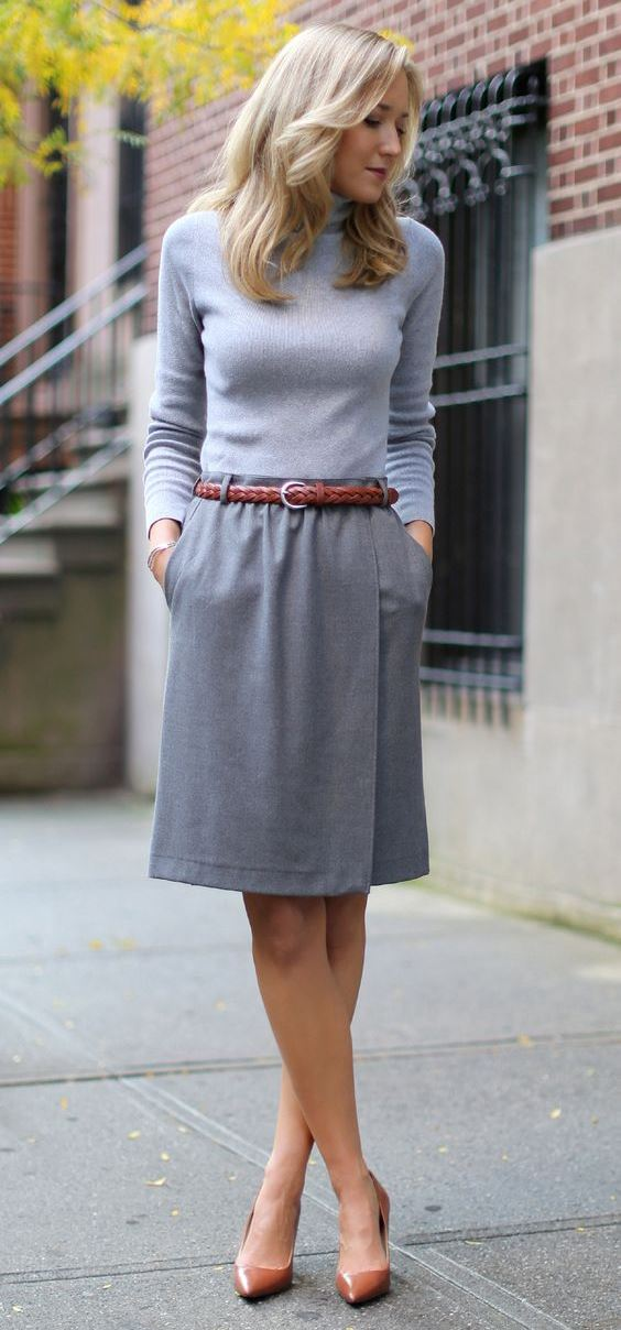 grey on grey / top + skirt + heels