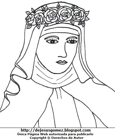 Dibujo de Santa Rosa de Lima para colorear, pintar o imprimir. Imagen de Santa Rosa de Lima hecho por Jesus Gómez