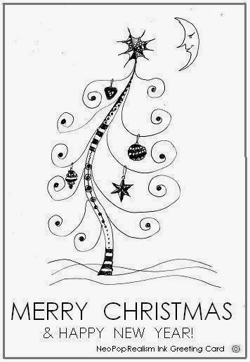 Merry christmas happy new year greeting cards for Christmas card drawing ideas