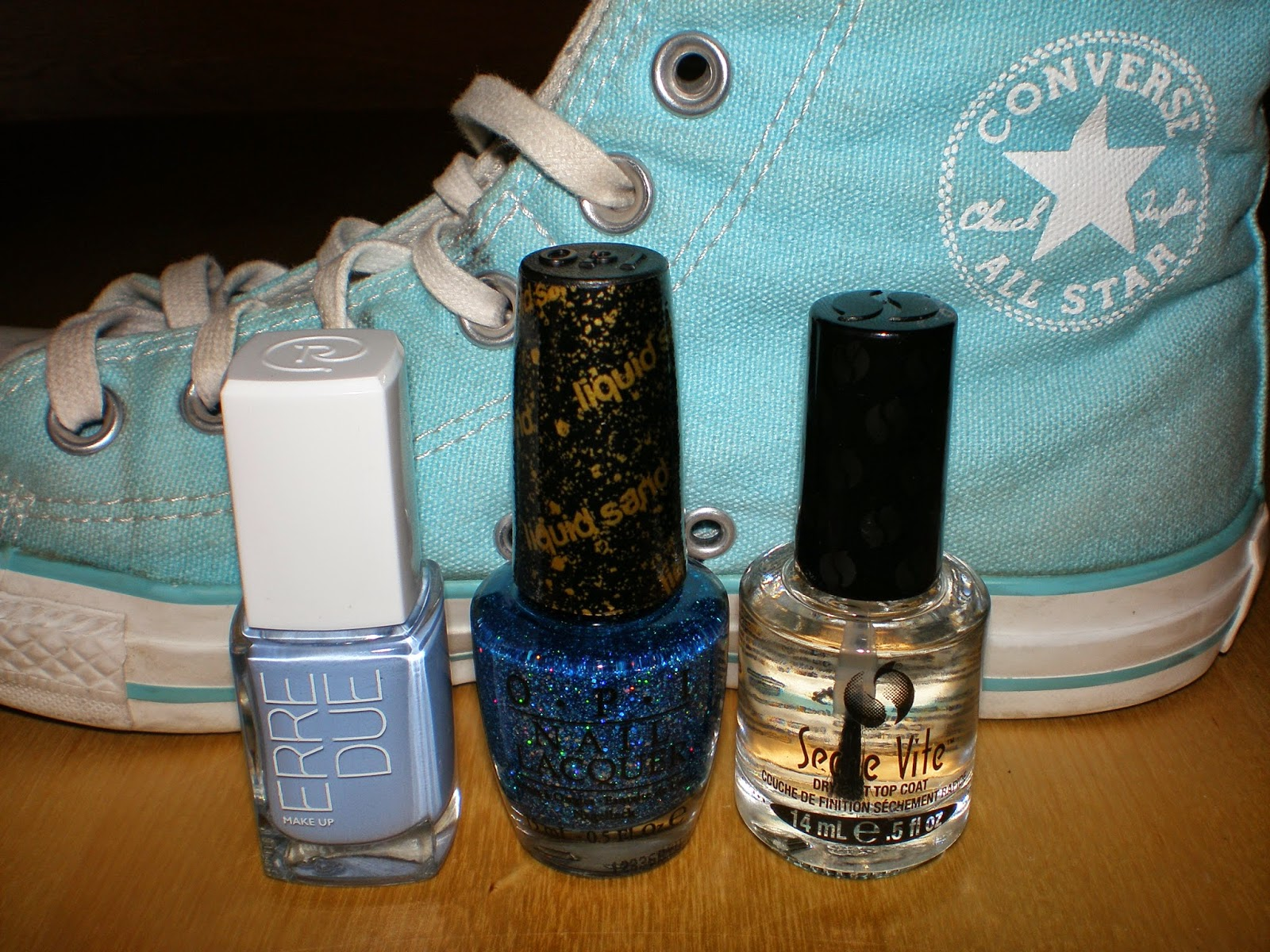Erre Due in 229 Baby Blue, OPI in Get Your Number and Seche Vite Dry Fast Top Coat