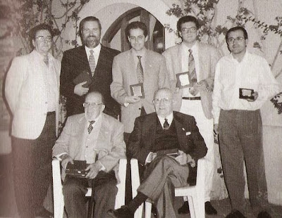 Reencuentro de siete presidentes del Club Ajedrez Tarragona en el cincuentenario del club, 1997