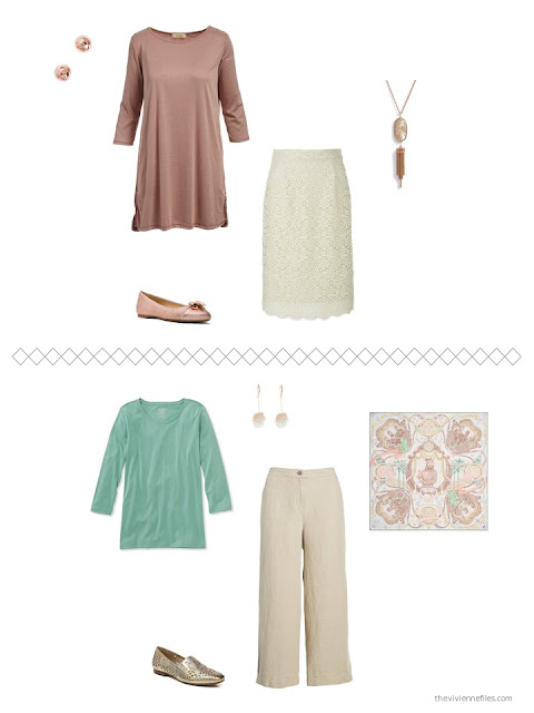 2 new outfits from a capsule wardrobe in beige and brown with green and rose accents